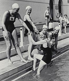 British Olympic Ladies Swimming Team 1948. Featuring Motherwell's Cathie Gibson being pulled from the water. 